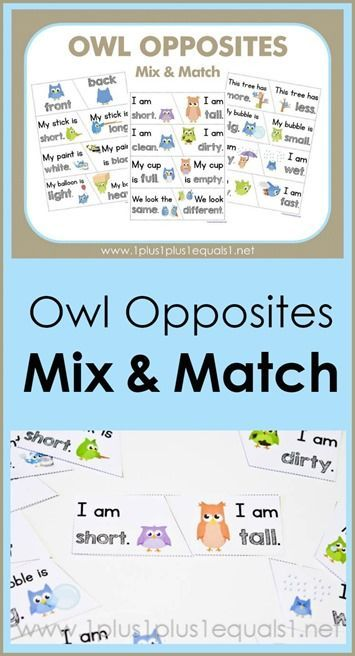 Owl Opposites Mix and Match Printables ~ what a fun way to teach opposites!  Adorable owls showing many different opposite words {hot - cold, short - tall, wet - dry and many more!}  These FREE owl printables are great for early childhood education!