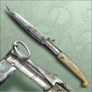 STOCCO 36cm Coltello a molla con sblocco ad anello - Lama in acciaio al carbonio 17 cm. - manico in Corno di Montone - lunghezza totale 36 cm.