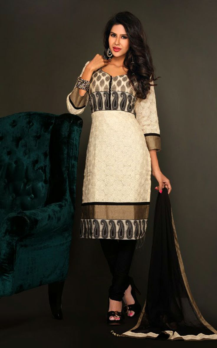 CREAM & BLACK COTTON SALWAR KAMEEZ - DIF 29722
