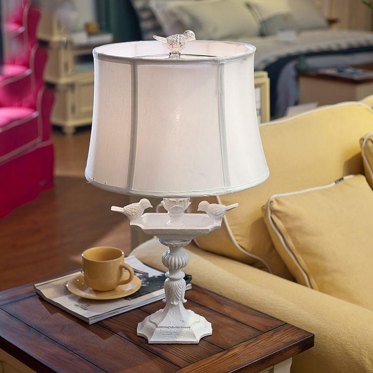 Modern Porcelain Table Lamp Bedside White Resin Bird Living Room Bedroom Home Lighting Creative Retro