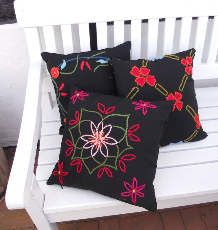Pillows from E&L by LUNDQVIST. Embroidery by hand on wool fabric. DKK 1.299,- a piece. http://shop.e-and-l.com/