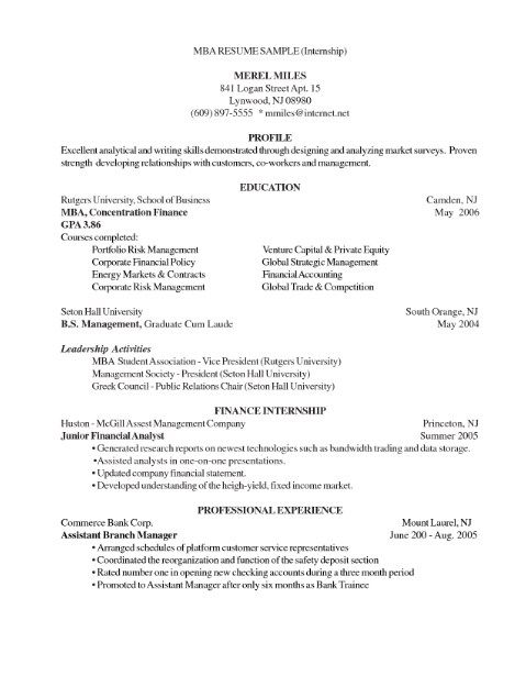 Mba Resume Examples Mba Student Resume Samples  Visualcv Resume