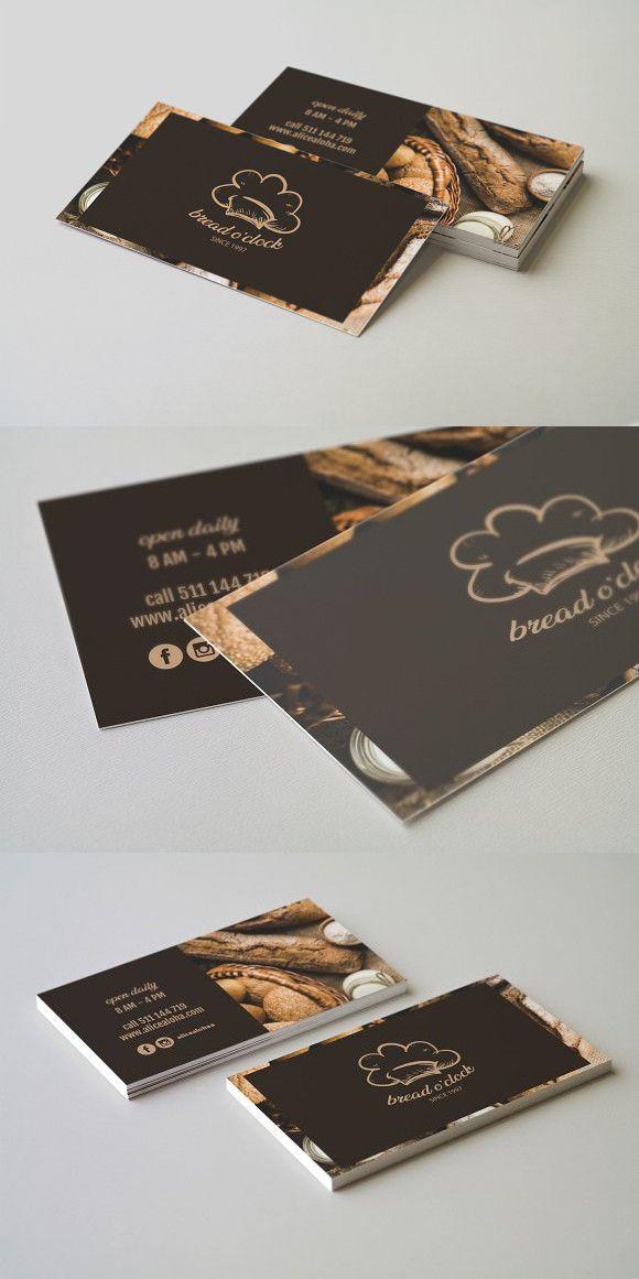 Bread O Clock Business Card Template Restaurant Business Cards Bakery Business Cards Restaurant Card Design