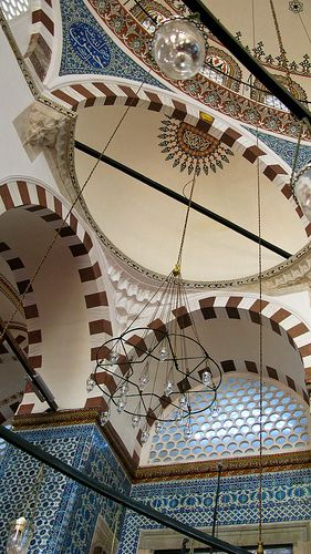 Looking up in Rustem Pasa Mosque, Istanbul, Turkey.  Such a wonderful sense of scale in this small mosque tucked in a few corners away from the Egyptian Spice Bazaar. I am always aware of the feeling of calm and sanctuary stepping of the streets crowded with people into the upper courtyard of this mosque complex.  Love it!