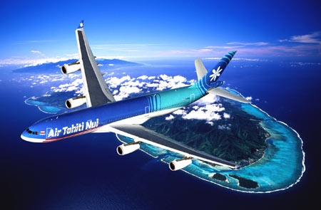Air Tahiti over Moorea ( and Tahiti in the background) Special sale at : http://www.airtahitinui-usa.com/happierholidays/