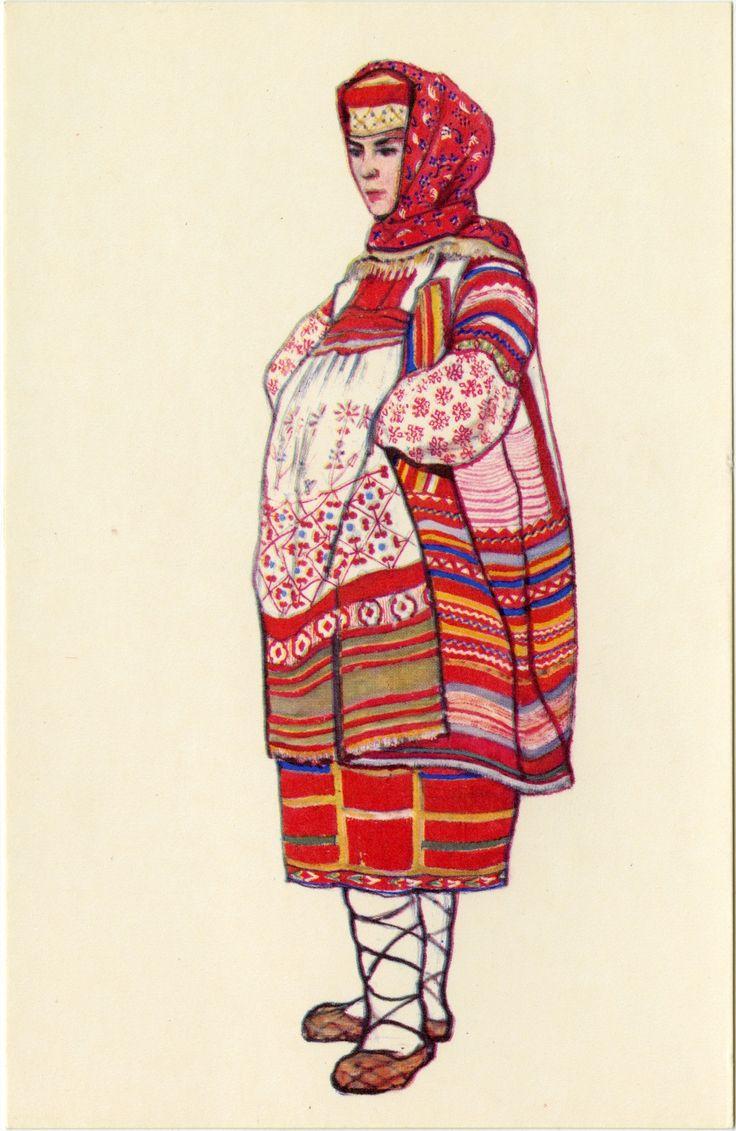 Открытки народного костюма, открытки стиле