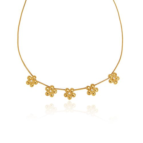 Daisy necklace in 18KT yellow gold with diamonds.