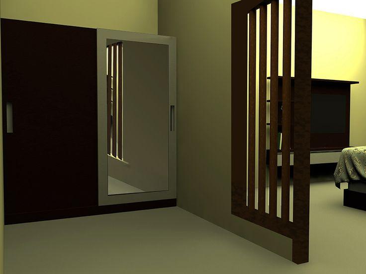 """Kamar dengan warna coklat yang dominan serta hadirnya aksen list stainless dan lampu tidur akan menghadirkan suasana relaksasi yang tenang dan hangat"""""""