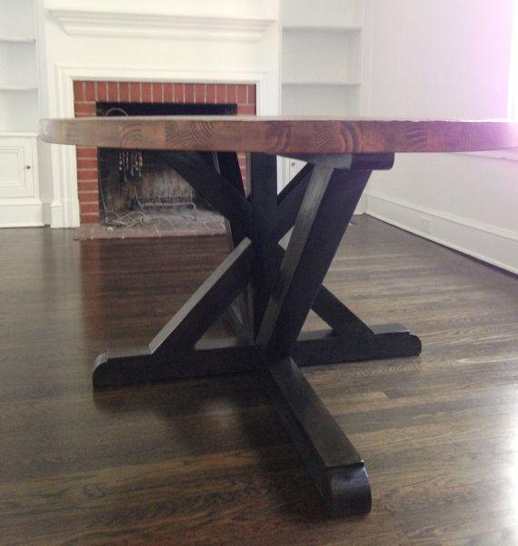 Small Custom Butcher Block Strip Oval Wood Dining Table door rdandco