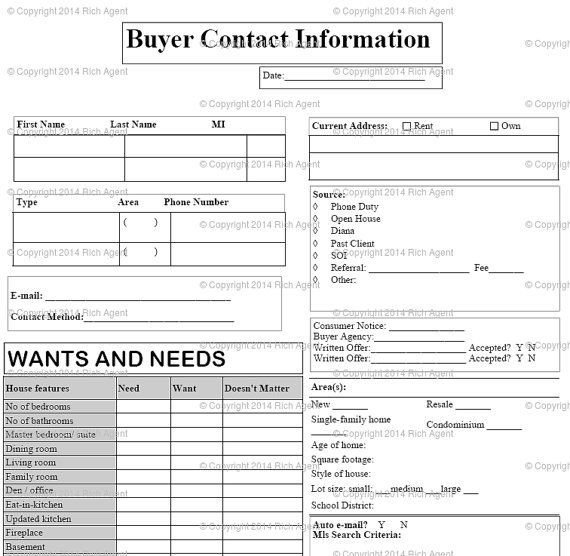 25 best ideas about Real Estate Forms – Customer Information Sheet Template