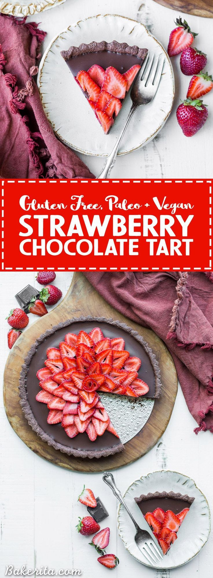 This Strawberry Chocolate Tart is filled with vegan chocolate ganache and topped…