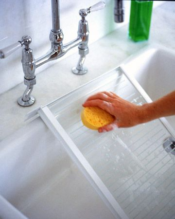 Clean the Fridge Interior  Seasonally: Wipe the interior with a mix of 2 tablespoons baking soda and 1 quart hot water. Rinse with a damp cloth, then dry with a clean towel. This will clean as well as help to eliminate odors. Do not use soap or detergent, because they can leave behind a scent the food will absorb: Done this and it's the only way to go! Results~ A+