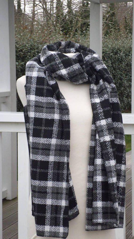 grande écharpe femme laine noir gris et blanc  lin'eva