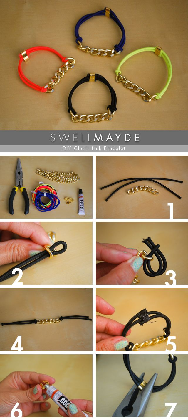 Chain Link Bracelet | Swell Mayde If you're looking for a quick and easy Christmas craft to make for your friends or family, here is a great one to make in bulk. Inspired by the Marc Jacobs bracelet, they're made with elastic rope and chain. Pop them...