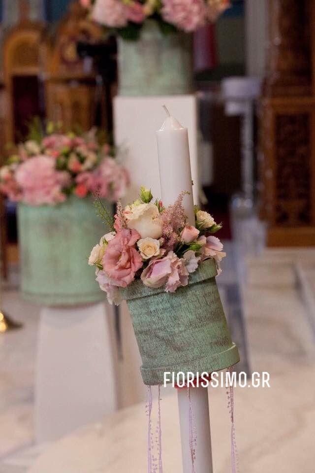 Mint and pink flower arrangements