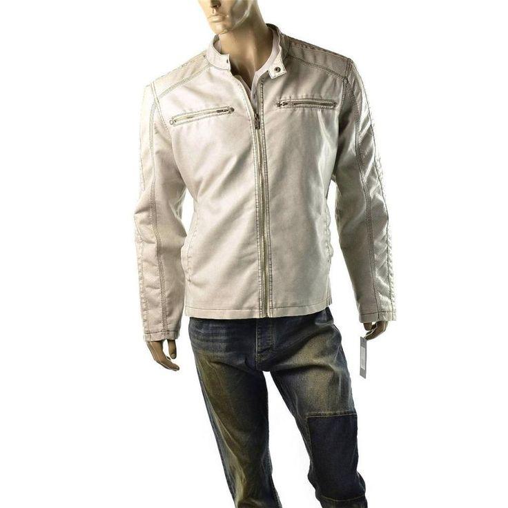Guess Moto Jacket Mens Faux Leather Biker Motorcycle Coat