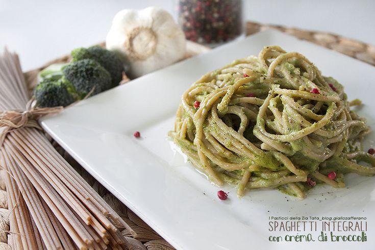 Spaghetti integrali con crema di broccoli #ricettesalate