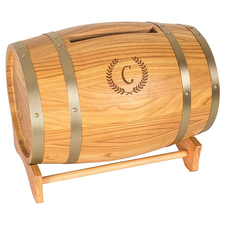 wood wedding card holders%0A Personalize your wedding or special event decor with this Cathy u    s Concepts  wine barrel gift card holder