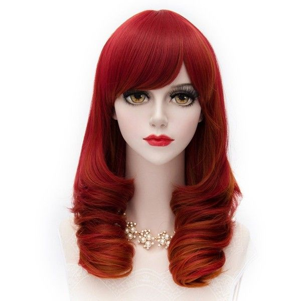 MQ Cosplay Wig Airy Curly Wave Hair Red 948 ($19) ❤ liked on Polyvore featuring beauty products, haircare, hair styling tools and curly hair care