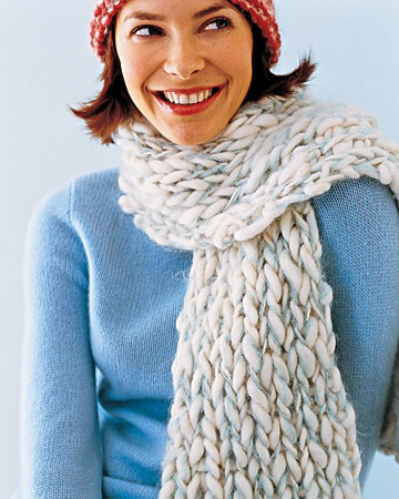Knitting: Knitted Scarves - Martha Stewart Chunky Cream and Aqua Scarf  We paired a bulky cream-colored wool with a fine light-blue mohair and used a U.S. size 20 needle, so we only cast on 14 stitches.  To knit scarf: Cast on, working with both yarns together. Work in 1 x 1 rib (knit 1, purl 1; repeat across row) for the length of the scarf. Bind off. Weave in ends.