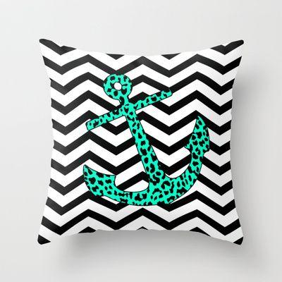 Mint Leopard Chevron Anchor Throw Pillow