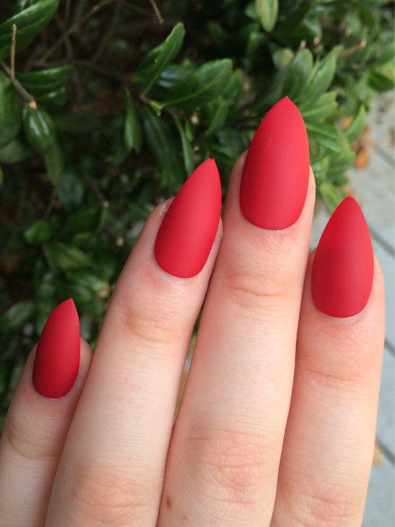Fake nails matte nails red matte nails stiletto by nailsbykate