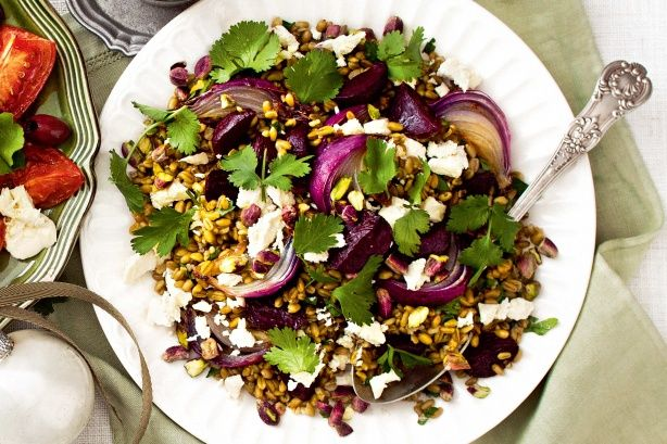 Beetroot, freekeh and pistachio salad