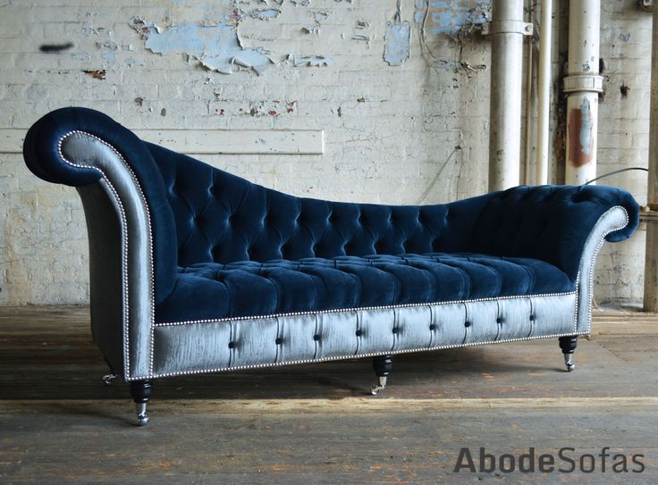 Bespoke Chesterfield Chaise Lounge Sofa. Commissioned By Interiors By Ashley. Navy plush velvet and contrasting silver fabric   Abode Sofas
