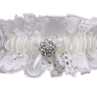 Lace Wedding Garter With Rhinestone Crystal Brooch