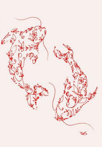 koi fish silhouette ink animal drawing print 5 x 7 koi fish silhouette