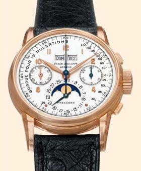 Patek Philippe 2499 – primeira série, fabricado em 1951 e vendido em 2002 no Antiquorum. Com a assinatura da Patek Phillipe, este modelo em ouro rosado de 18 quilates vem equipado com um calendário perpétuo e indicador das fases lunares. Preço: 2.129.000 dólares (1.380.000 euros)