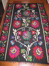 Vintage hand woven Romanian kilim / Romanian carpet ,rug  from Transylvania