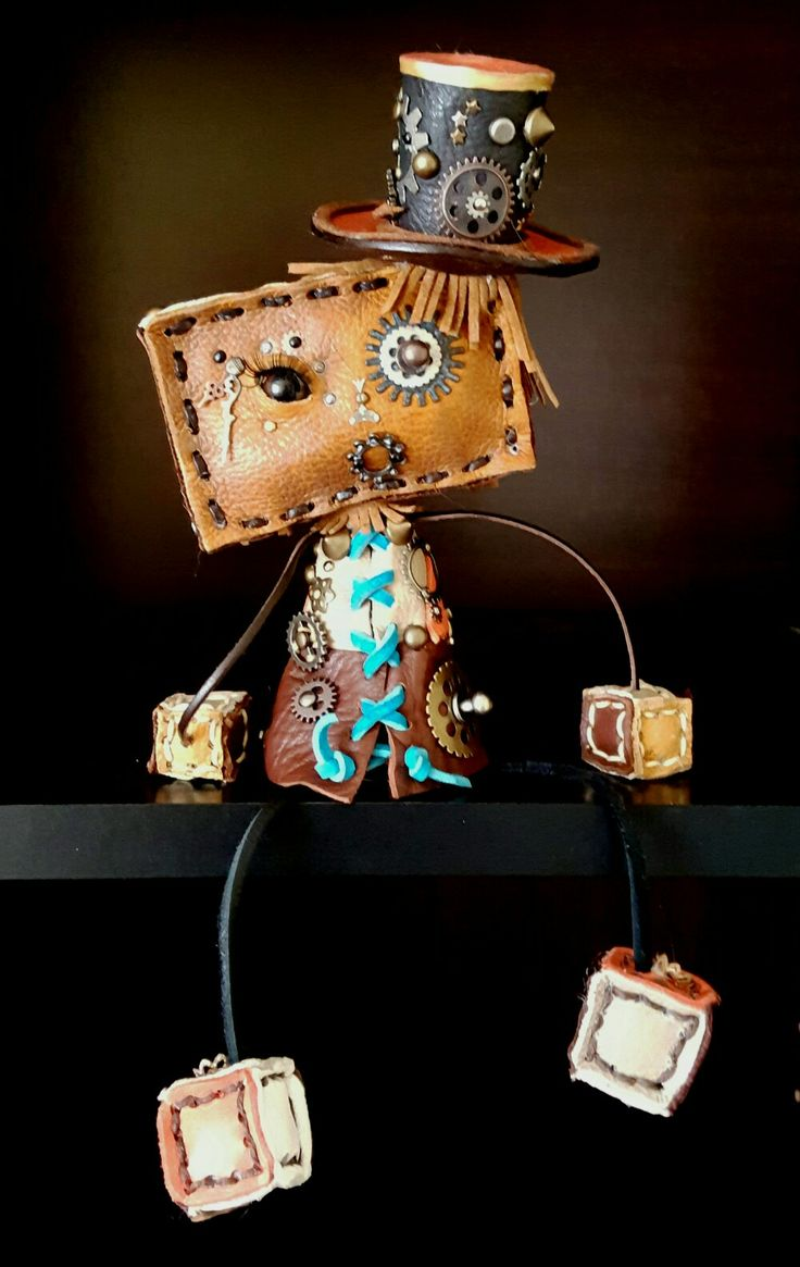 Leather steam punk robot girl #steampunk #leather #robot #girl #gift