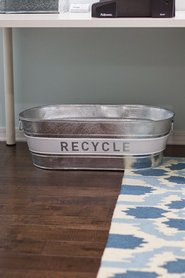 Every beach cottage needs a stylish recycling bin - so why not DIY it?  Bonus points if you upcycle a garage sale or flea market find!