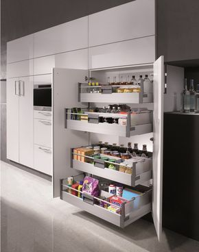 Pull-out drawers combined with a pantry cupboard in this super white glossy kitchen