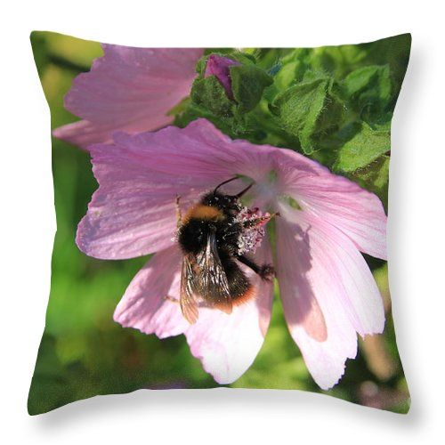 Bumblebee Throw Pillow featuring the photograph Hollyhock And Bumblebee by…
