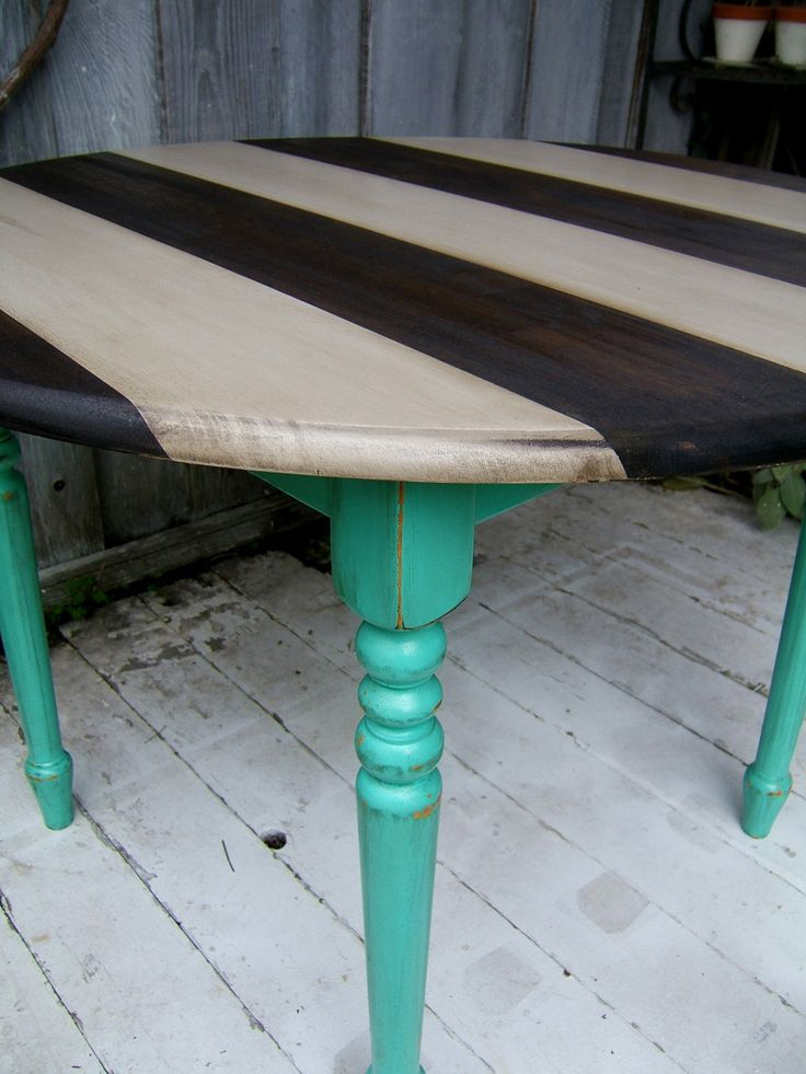 Striped Shabby Chic Kitchen Table - Turquoise, Grey, and Jacobean. I need a chevron table, that would be awesome!