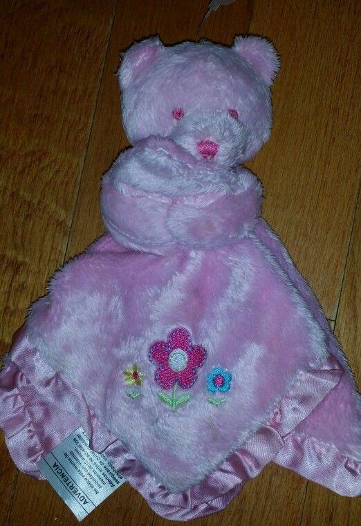 Gerber baby  security blanket bear flowers  lovey pink satin trim & back   #Gerber