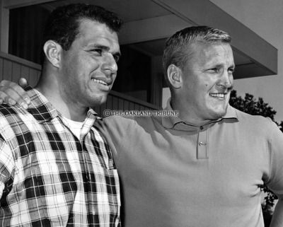RAIDERS SUNDAY July 13, 1963 - Oakland Raider linebacker Archie Matsos and center Jim Otto. (Photo by Jim Edelen / Oakland Tribune Staff Archives)