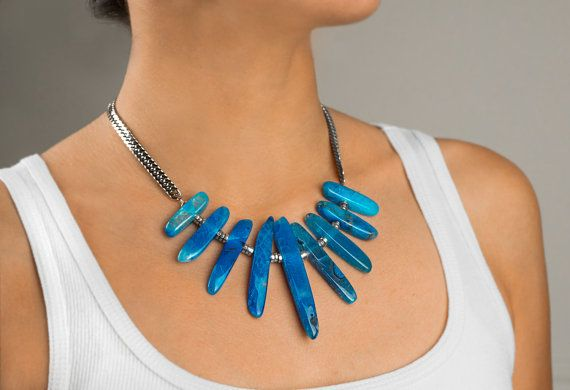 Statement necklace blue Agate. stainless by ErikaKormaDesigns