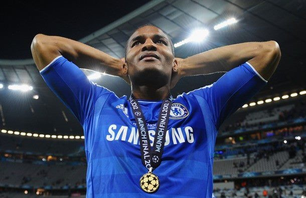 Florent Malouda of Chelsea celebrates with his medal after their victory in the UEFA Champions League Final between FC Bayern Muenchen and Chelsea at the Fussball Arena München on May 19, 2012 in Munich, Germany.