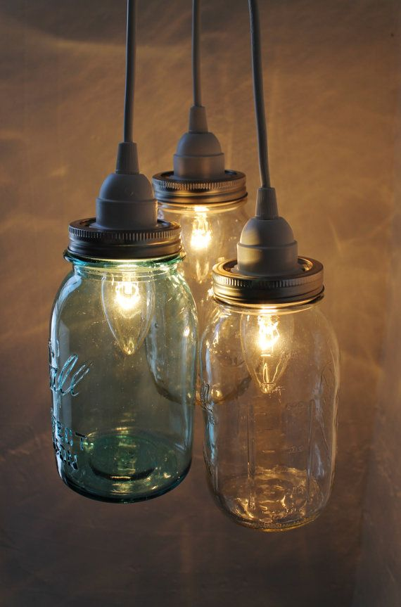 Summer Beach House Mason Jar Chandelier - 3 Ball Mason Jar Hanging Pendant Chandelier Cluster Light - UpCycled BootsNGus Lighting Fixture