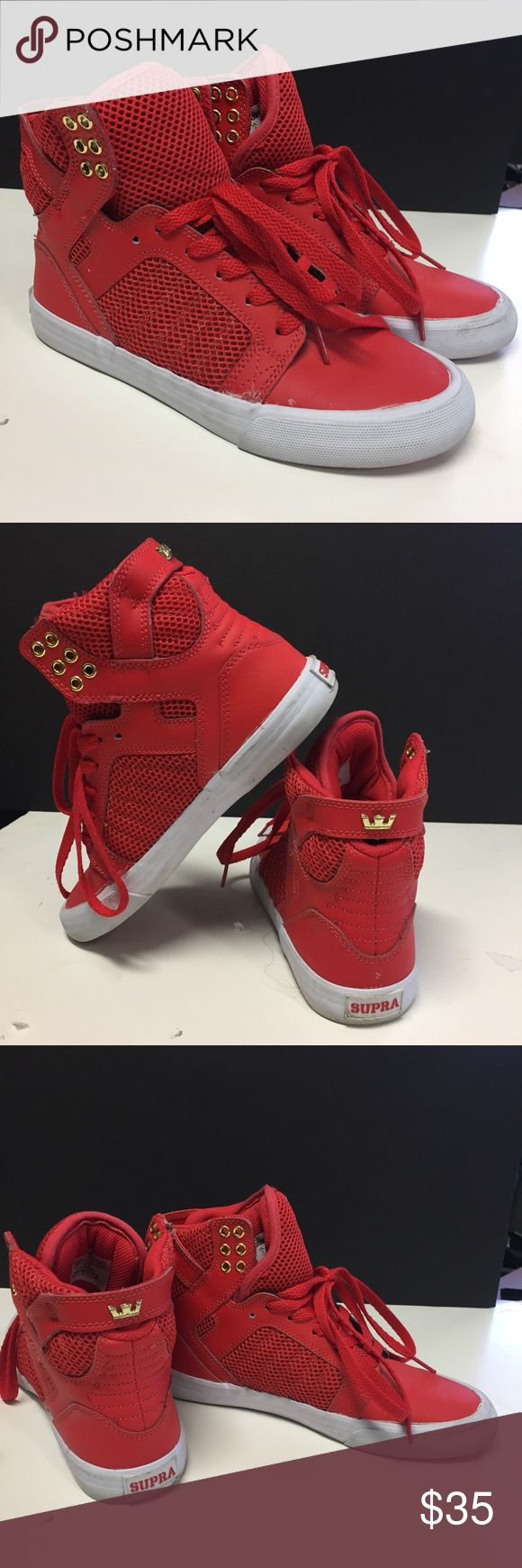 Supra Red High Top Sneakers Size 7 Gently used red high Top Women's Sneakers. Size 7. Make me an offer. Supra Shoes Sneakers