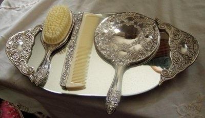 Details About Vintage Godinger Silver Plate Dresser Vanity