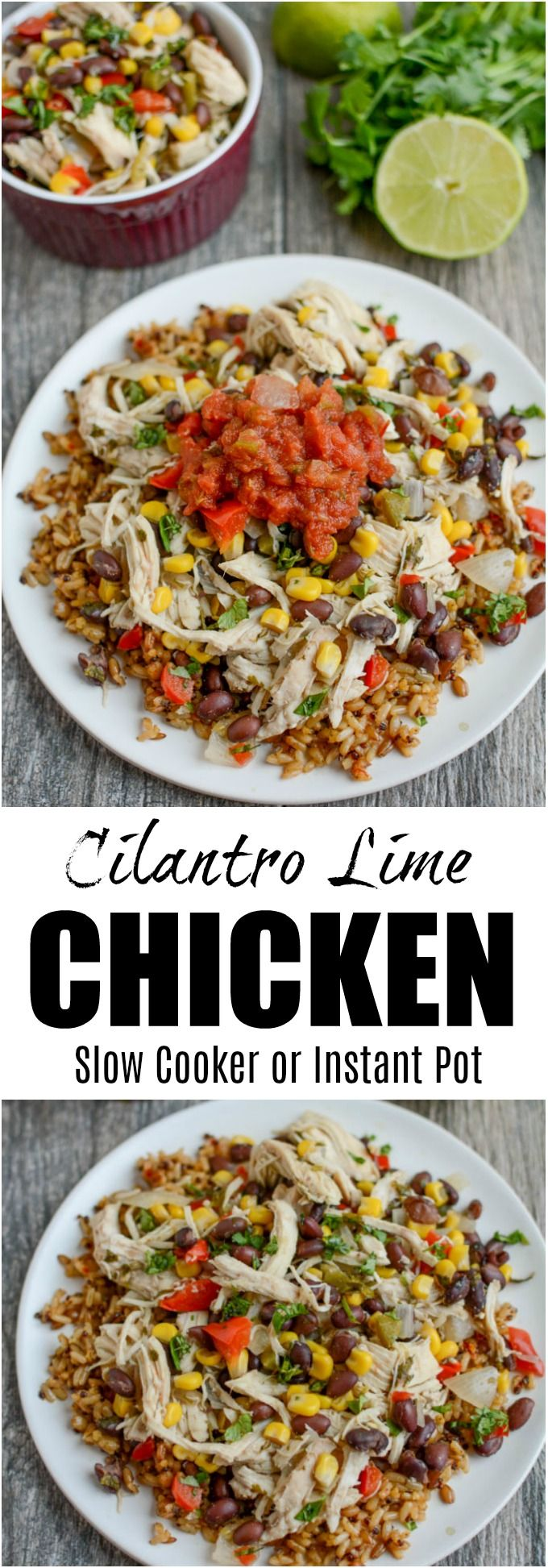 This Cilantro Lime Chicken is the perfect healthy dinner recipe and can be made in the slow cooker or the Instant Pot. Serve it over rice or as a filling for tacos. You can even prep it ahead of time and freeze until you need it. via @lclivingston