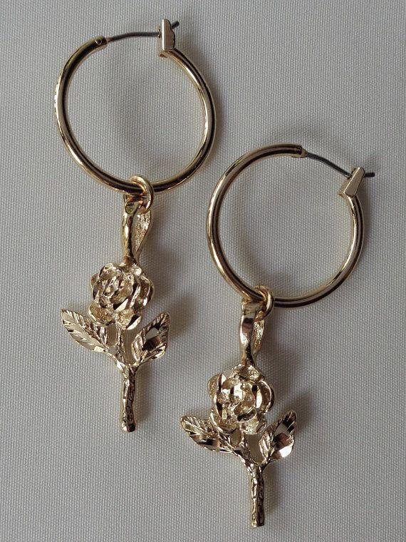 Rose Charm Hoop Earrings Rose Flower Earrings Gold Rose Charm Hoops Earrings Jewelry Earring Charm Rose Flower Little Rose Hoops Earrings Black Stud Earrings Jewelry Silver Jewelry Box
