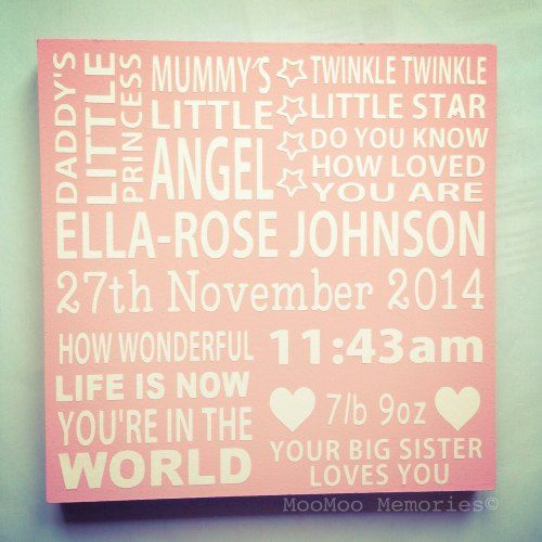 Birth square quote board - £19.99 Girls birth board made from wood. Twinkle twinkle little star, first we had each other. Personalised quote board. ABC. Love you to the moon. Children's nursery.