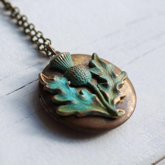 Scottish Thistle Locket  Vintage Bronze Locket Tarnished with Flower of Scotland Charm on Etsy, $21.88