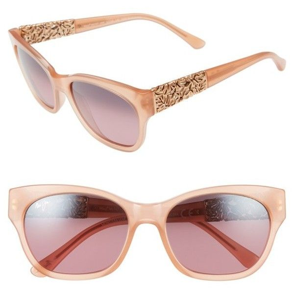 Women's Maui Jim Monstera Leaf 57Mm Polarized Sunglasses (€415) ❤ liked on Polyvore featuring accessories, eyewear, sunglasses, guava pink, scratch resistant sunglasses, maui jim glasses, pink glasses, nose pads glasses and glass lens sunglasses