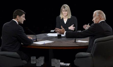 Martha Raddatz moderates the debate between Republican vice-presidential nominee Paul Ryan vice-president Joe Biden in Kentucky  Photograph:...
